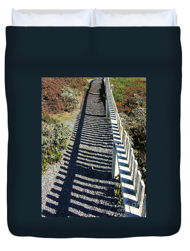 Half Moon Bay Duvet Cover featuring the photograph Beach Path by Carol Groenen