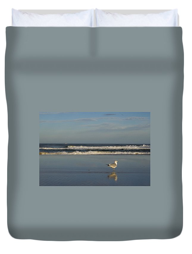 Sea Ocean Gull Bird Beach Reflection Water Wave Sky Duvet Cover featuring the photograph Beach Patrol by Andrei Shliakhau