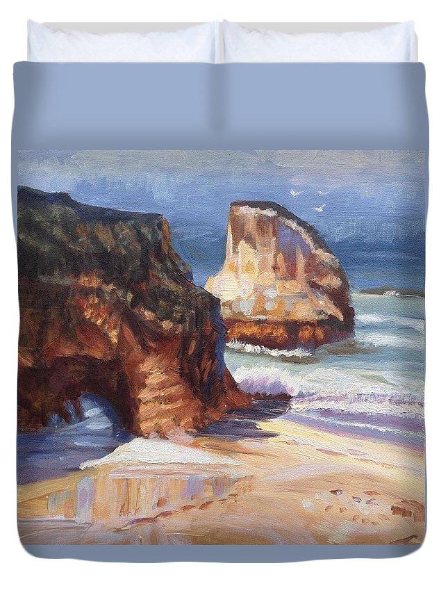 Beach Duvet Cover featuring the painting Beach Rocks by Elena Sokolova
