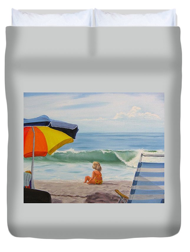Seascape Duvet Cover featuring the painting Beach Scene - Childhood by Lea Novak