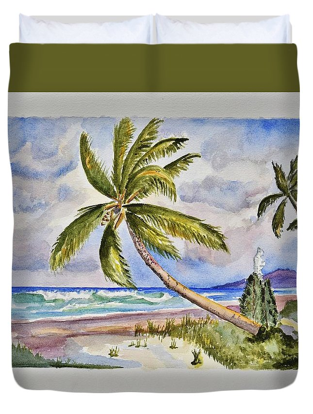 Linda Brody Duvet Cover featuring the painting Beach Scene I by Linda Brody