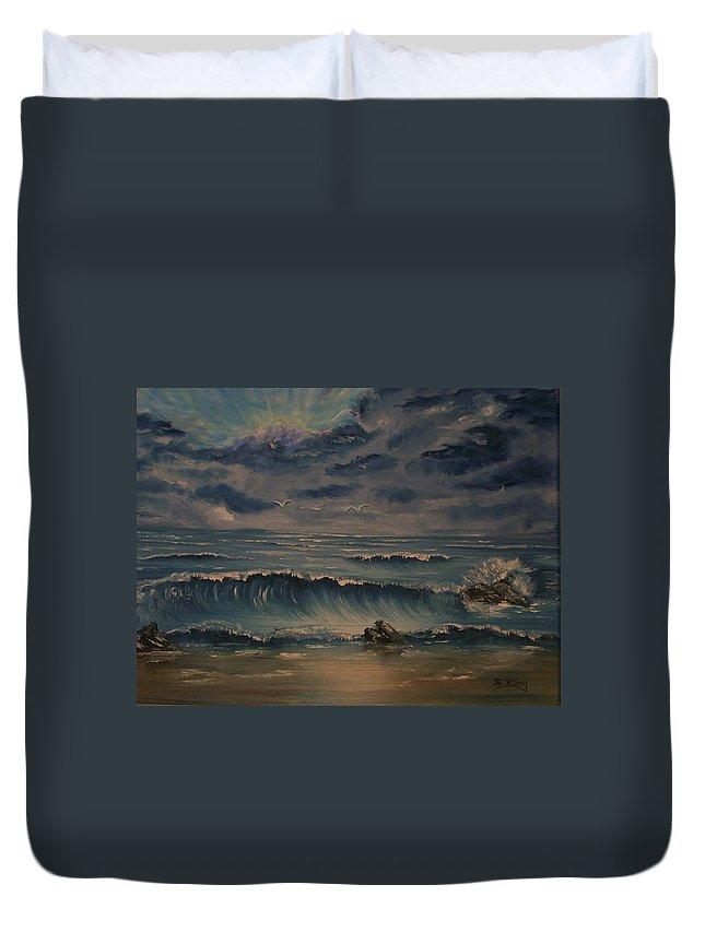 Water Duvet Cover featuring the painting Beach Scene by Stephen King
