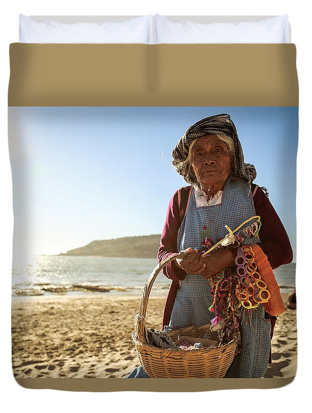 Beach Duvet Cover featuring the photograph Beach Seller by Patrick Schulte