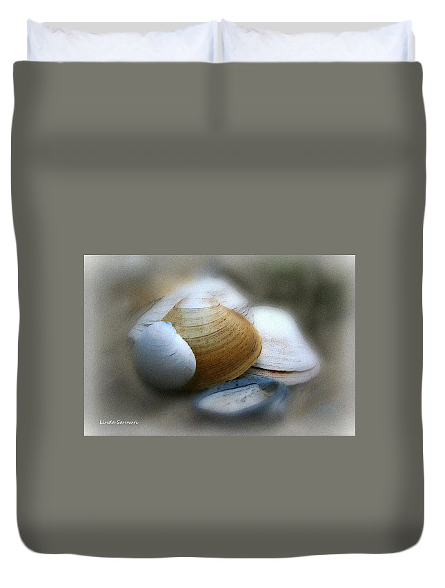 Nature Duvet Cover featuring the photograph Beach Shells by Linda Sannuti