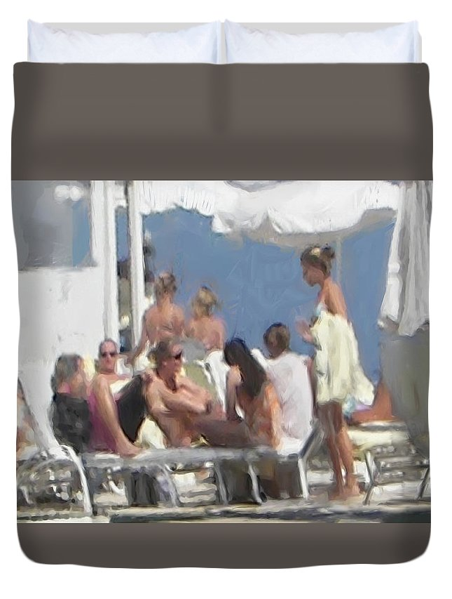 Figure Duvet Cover featuring the painting Beach Side by Thomas Tribby