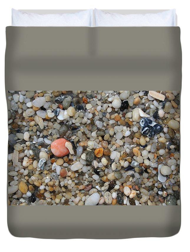 Beach Duvet Cover featuring the photograph Beach Stones by Linda Sannuti