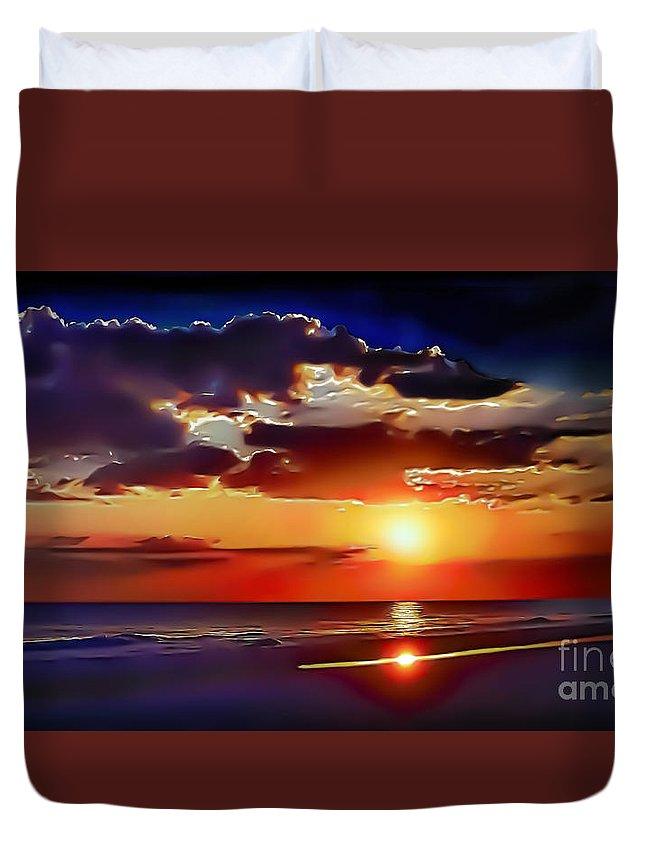 Beach Duvet Cover featuring the photograph Beach Sunset 5184 by Walt Foegelle