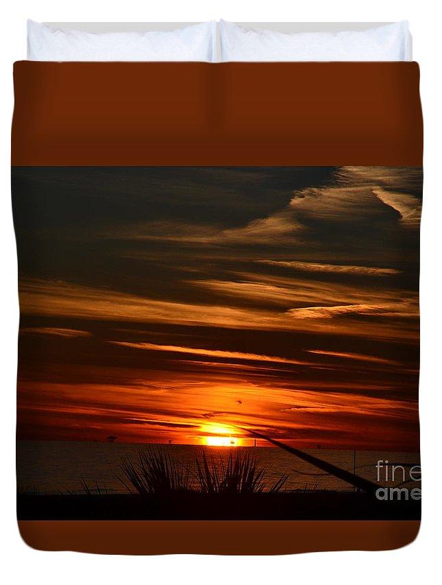 gulf Coast Sunset alabama Coast Sunset orange Sunset beach Sunset Alabama Timslens Duvet Cover featuring the photograph Beach Sunset Alabama by Tim Sevcik