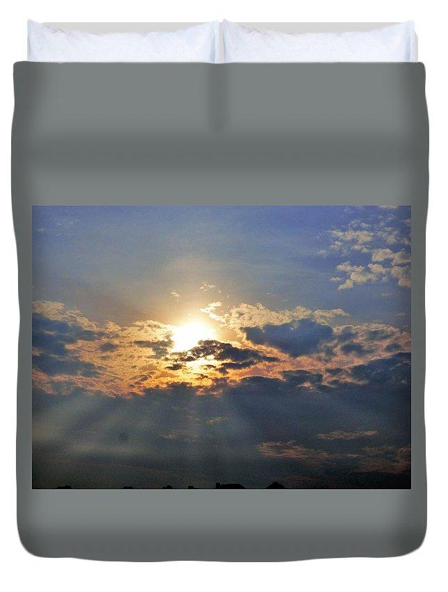 Beach Maine Sunset Duvet Cover featuring the photograph Beach Sunset by Scott Welton