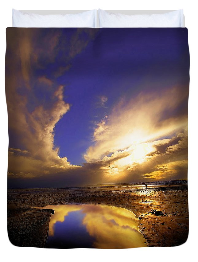 Beach Duvet Cover featuring the photograph Beach Sunset by Svetlana Sewell
