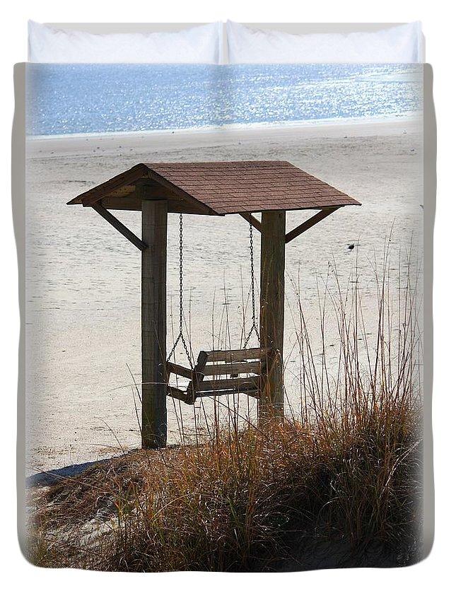 Beach Duvet Cover featuring the photograph Beach Swing by Carol Groenen