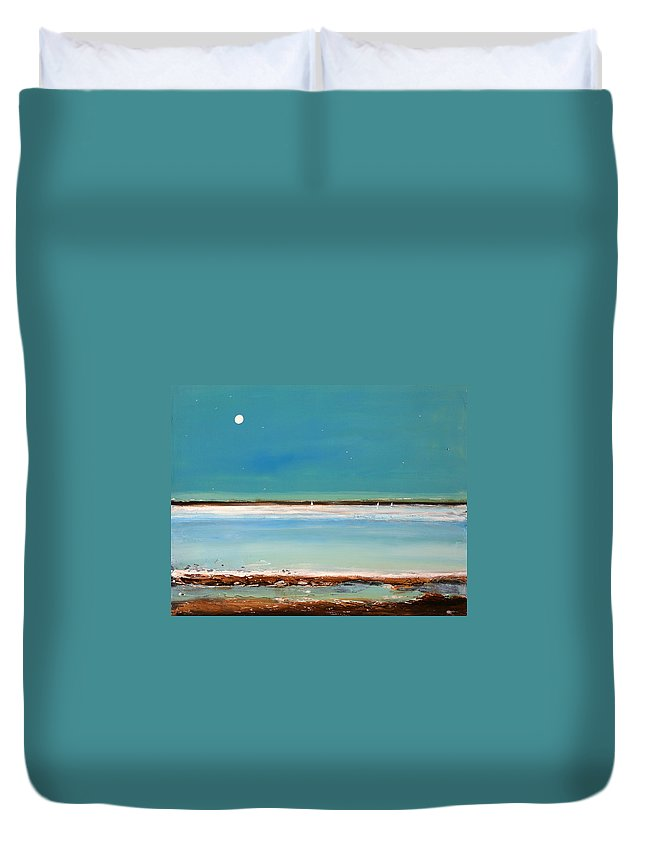 Landscape Duvet Cover featuring the painting Beach Textures by Toni Grote
