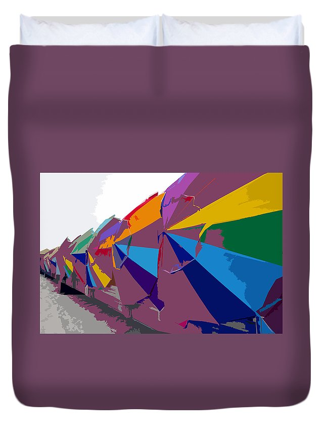 Beach Umbrellas Duvet Cover featuring the painting Beach Umbrella Row by David Lee Thompson