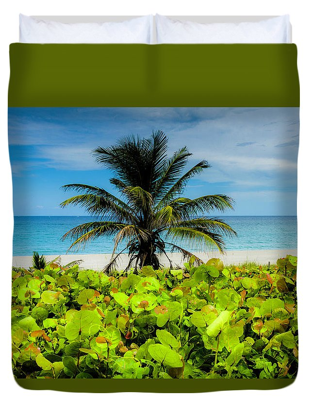 Beach View Duvet Cover featuring the photograph Beach View by Wolfgang Stocker