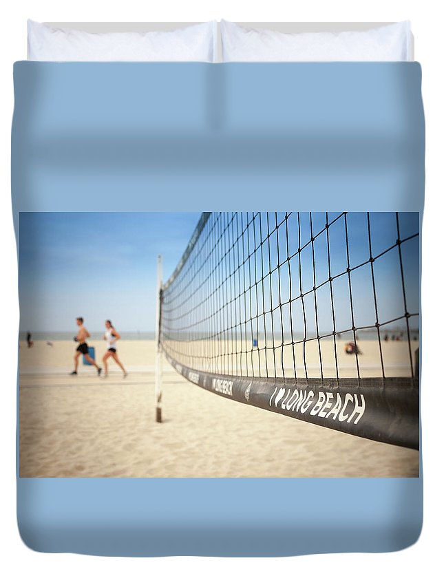 Beach Volleyball Duvet Cover featuring the photograph Beach Volleyball Net On The Sand At Long Beach, Ca by Bradley Hebdon