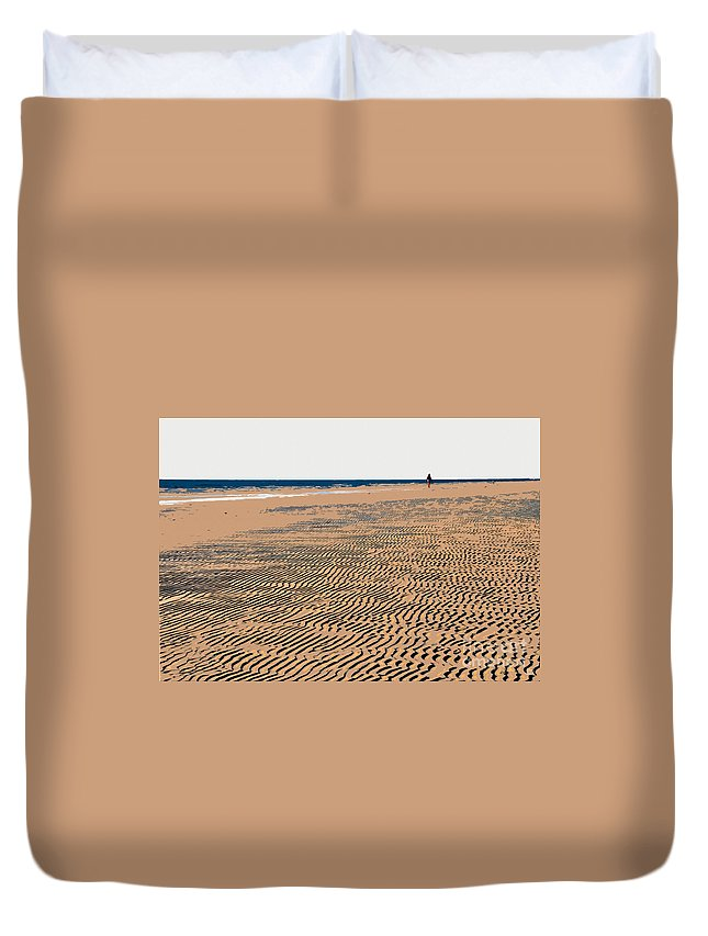 Beach Duvet Cover featuring the painting Beach Walk by David Lee Thompson