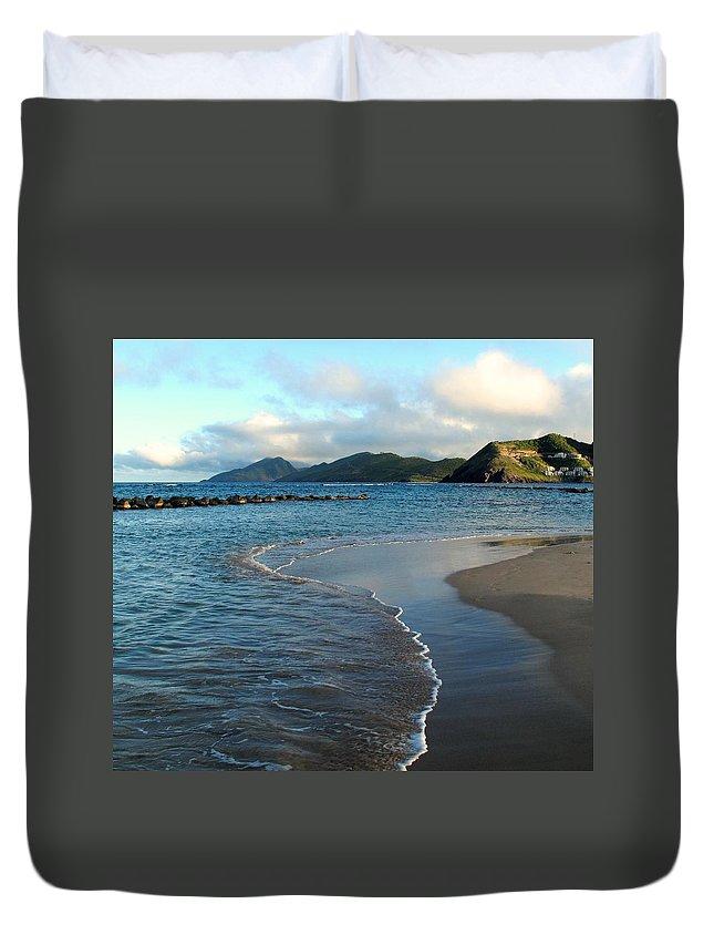 St Kitts Duvet Cover featuring the photograph Beach Walk by Ian MacDonald