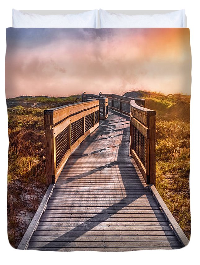 Clouds Duvet Cover featuring the photograph Beach Walk In The Dunes by Debra and Dave Vanderlaan