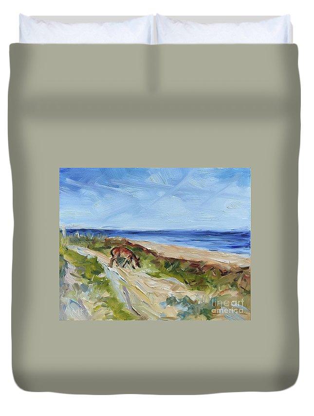 Beach Duvet Cover featuring the painting Beach Walk by Maria Reichert