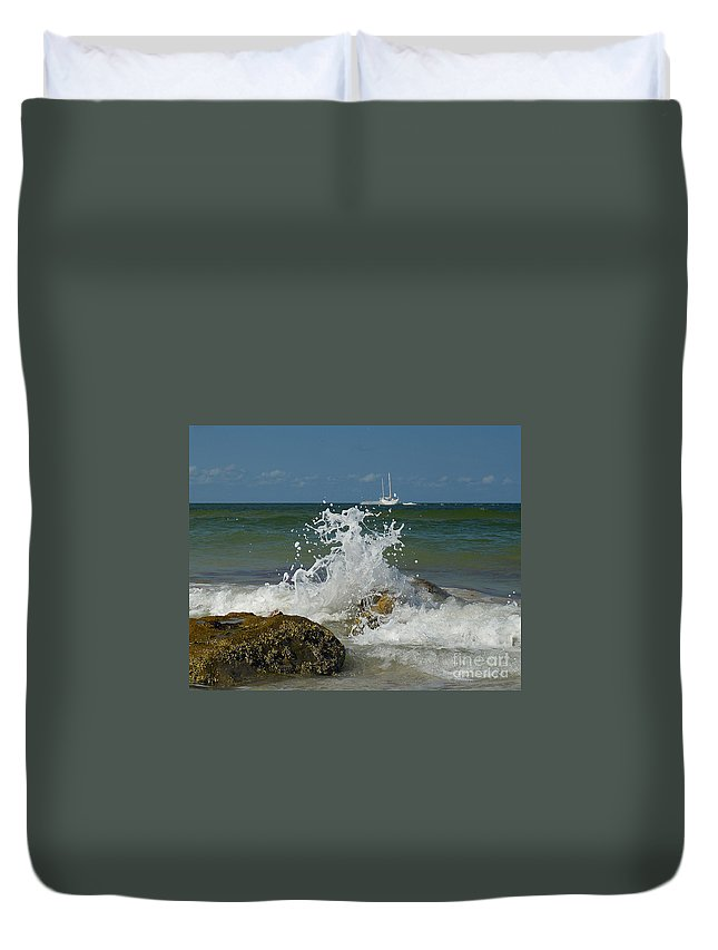 Duvet Cover featuring the photograph Beach Waves by Don Solari