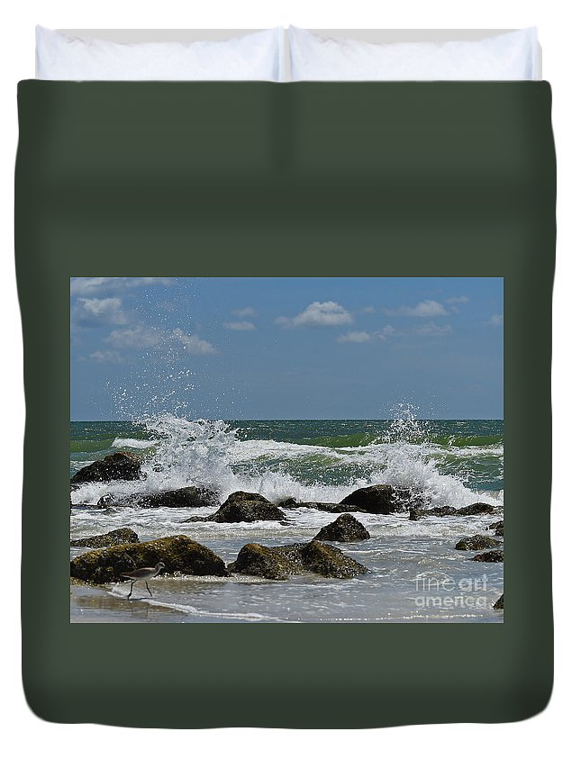 Duvet Cover featuring the photograph Beach Waves001 by Don Solari