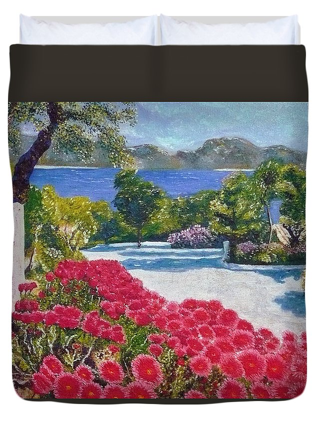Landscape Duvet Cover featuring the painting Beach With Flowers by Ericka Herazo