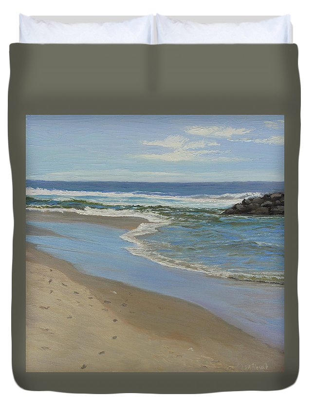Seascape Duvet Cover featuring the painting Beach with Rocks by Lea Novak