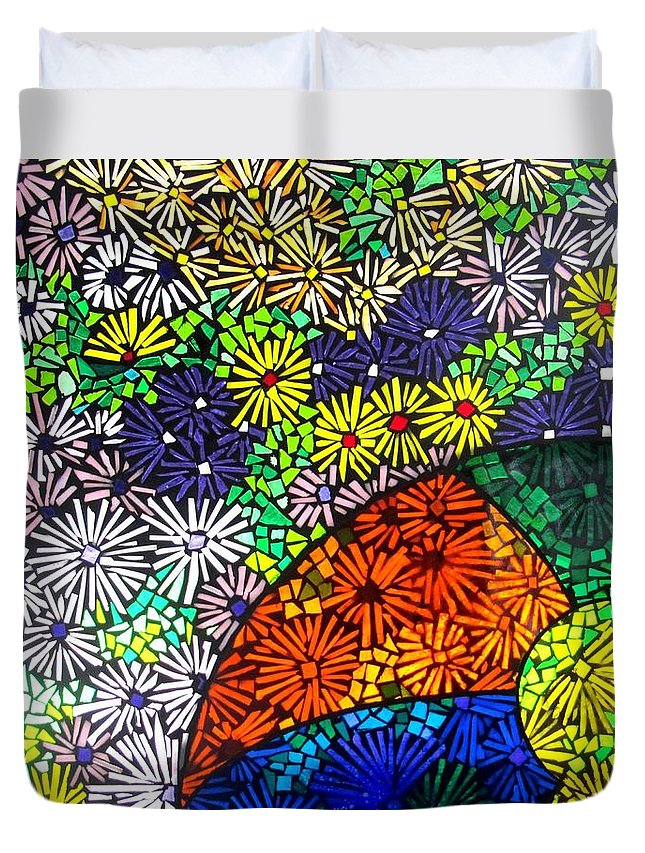 Duvet Cover featuring the glass art Beachballs And Daisies by Jeffrey Todd Moore