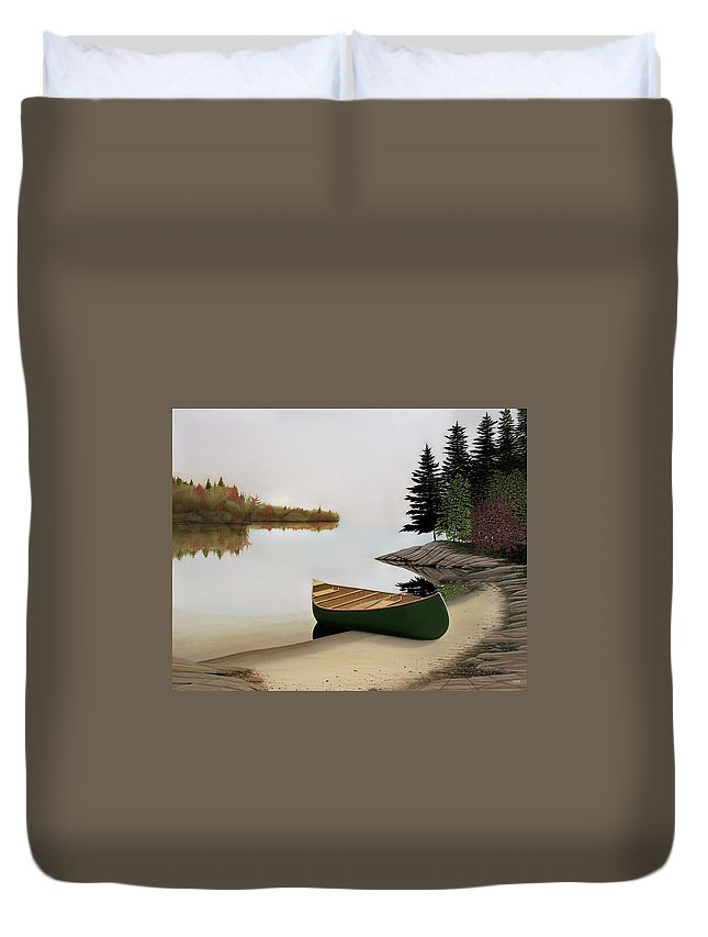 Canoe Paintings Duvet Cover featuring the painting Beached Canoe In Muskoka by Kenneth M Kirsch