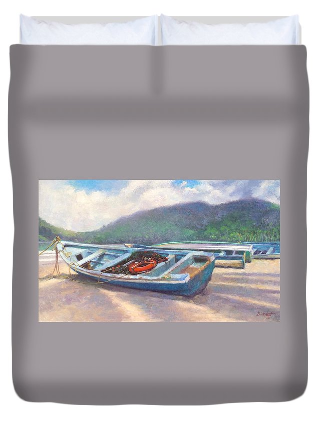 Boat Duvet Cover featuring the painting Beached by Colin Bootman