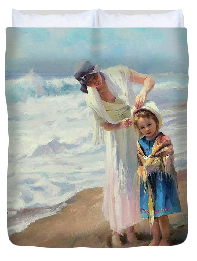 Beach Duvet Cover featuring the painting Beachside Diversions by Steve Henderson