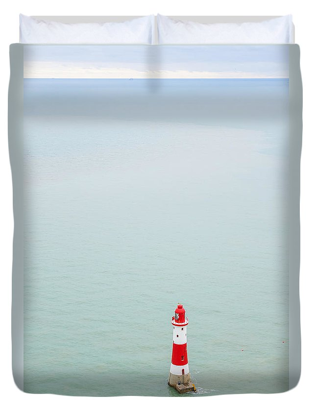 Traveling Famous Holiday Vacation Trip Natural Nature Picturesque Popular South Downs National Park Texture Background Britain British England English Uk Europe European Coastline Shore Coastal Seaside Seven Sisters Beautiful View Panorama Panoramic Landscape Travel Bay Tourism Landmark Landmarks Attraction Destination Heritage Countryside Scene Sightseeing Viewpoint Scenery Blue Sky Water Horizon Sight Calm Quiet Eastbourne Sussex Beachy Head Lighthouse Sea Coast Duvet Cover featuring the photograph Beachy Head Lighthouse by Marcin Rogozinski