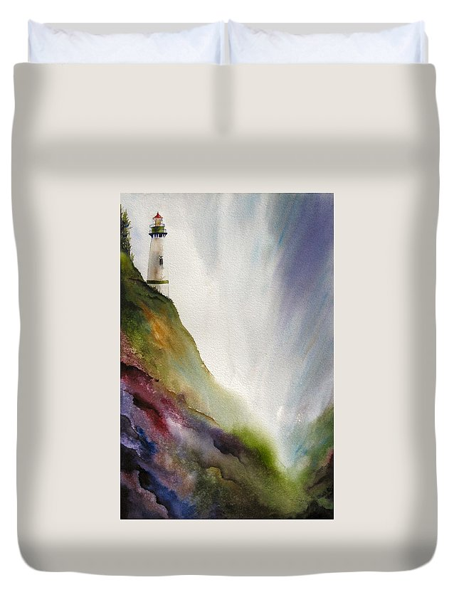 Lighthouse Duvet Cover featuring the painting Beacon by Karen Stark