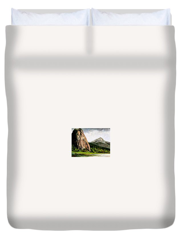 Landscape Duvet Cover featuring the painting Beacon Rock Washington by Jim Gola