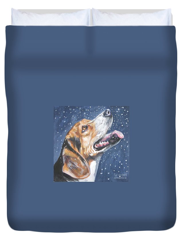 Beagle Duvet Cover featuring the painting Beagle In Snow by Lee Ann Shepard