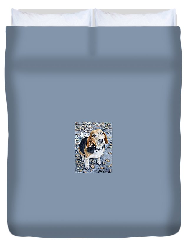 Dog Duvet Cover featuring the painting Beagle Nanni by Nicole Zeug
