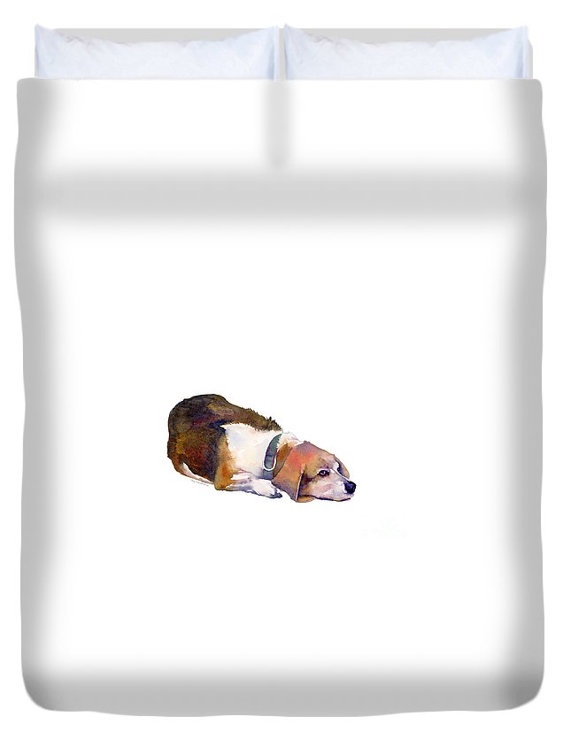 Beagle Duvet Cover featuring the painting Beagle Thoughts by Amy Kirkpatrick