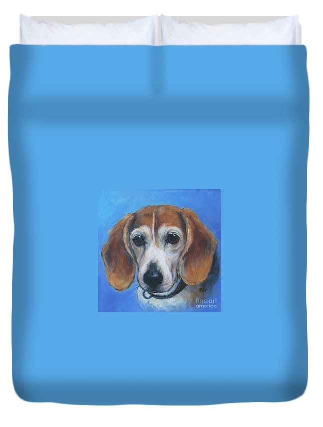 Beagle Duvet Cover featuring the painting Beagle by Vickie Fears