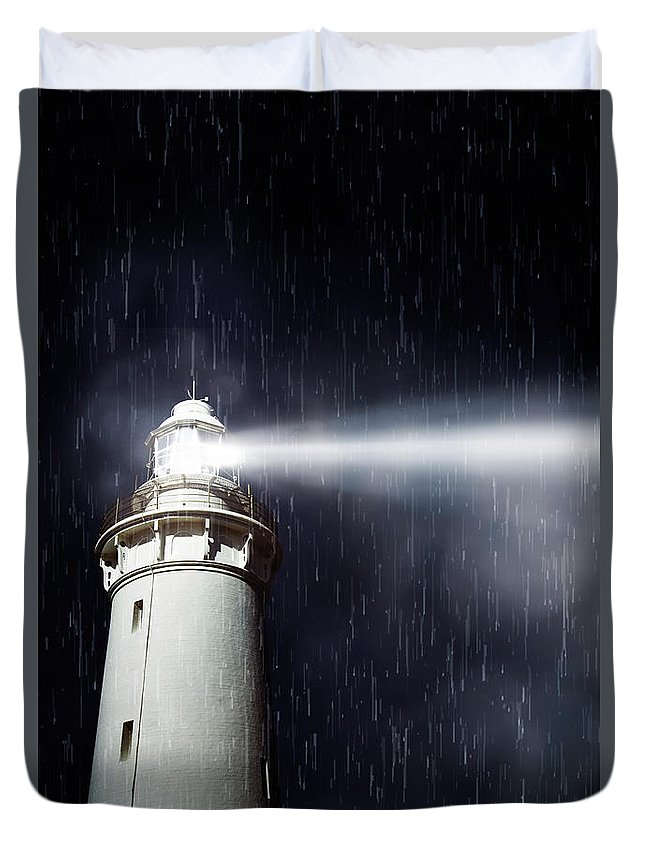 Nautical Duvet Cover featuring the photograph Beaming Lighthouse by Jorgo Photography - Wall Art Gallery