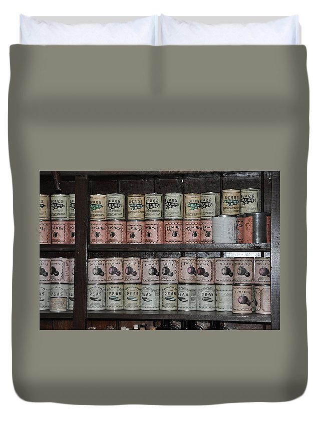 Harpers Ferry Duvet Cover featuring the photograph Beans Peaches Tomatoes And Peas by Bill Cannon
