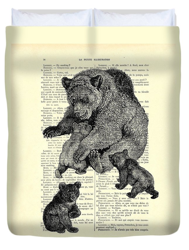 Bear Duvet Cover featuring the digital art Bear And Cubs Black And White Antique Illustration by Madame Memento