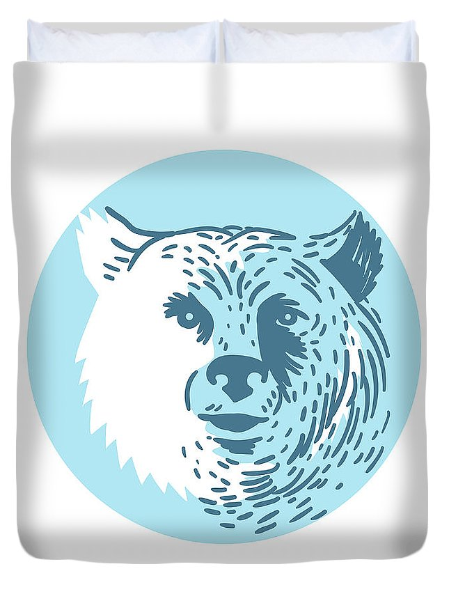 Drawing Duvet Cover featuring the digital art Bear Head Smiling Circle Drawing by Aloysius Patrimonio