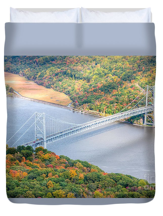 Clarence Holmes Duvet Cover featuring the photograph Bear Mountain Bridge In Autumn by Clarence Holmes