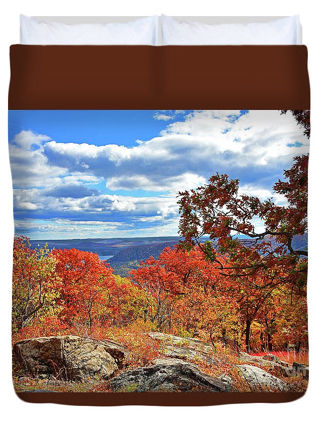Bear Mountain Duvet Cover featuring the photograph Bear Mountain Gold And Bronze by Regina Geoghan