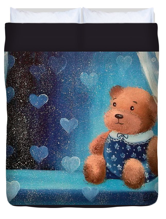 Bear Duvet Cover featuring the painting Bear by Olha Darchuk
