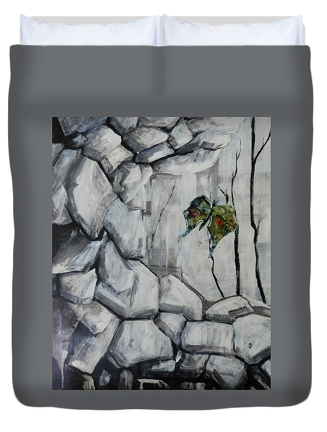 Acrylic Collage Abstract Duvet Cover featuring the painting Bear Peak Giant by Monique Gray