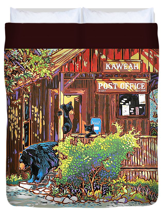 Bear Duvet Cover featuring the painting Bear Post by Nadi Spencer