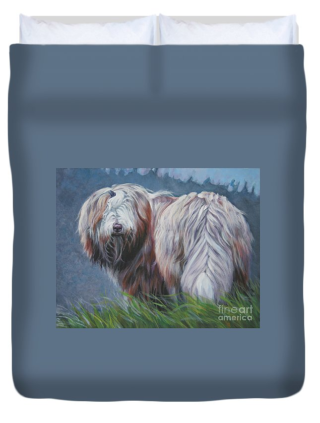 Bearded Collie Duvet Cover featuring the painting Bearded Collie In Field by Lee Ann Shepard