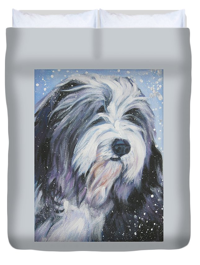 Bearded Collie Duvet Cover featuring the painting Bearded Collie In Snow by Lee Ann Shepard