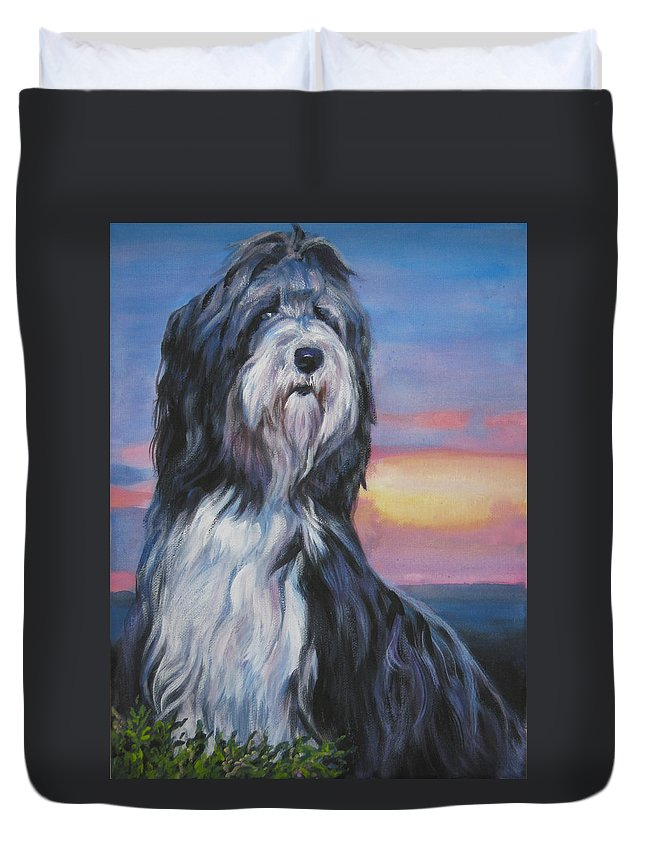 Bearded Collie Duvet Cover featuring the painting Bearded Collie Sunset by Lee Ann Shepard